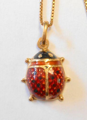 "Estate 750 18K Yellow Gold Enamel Spotted Ladybug 25mm Pendant & 17.5"" Necklace"