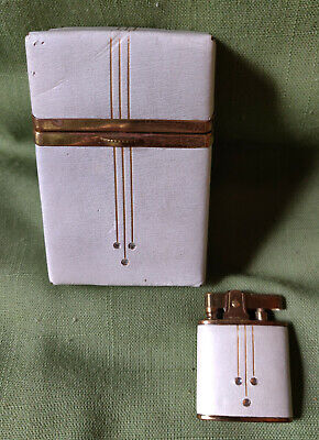 Vintage Buxton Cream Leather Flip Top Cigarette Hard Case & LighterMid Century