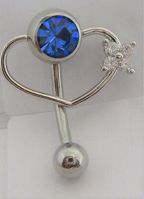 Blue Gem Heart - Dark Blue Gem Pressure Ball Heart Flower Hoop VCH Clit Clitoral Hood Ring 14g