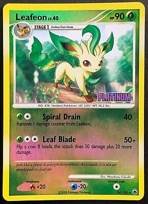 Pokemon Card Leafeon LV.40 Burger King Promo 24/100 EX/NM Reverse Holo Rare TCG!