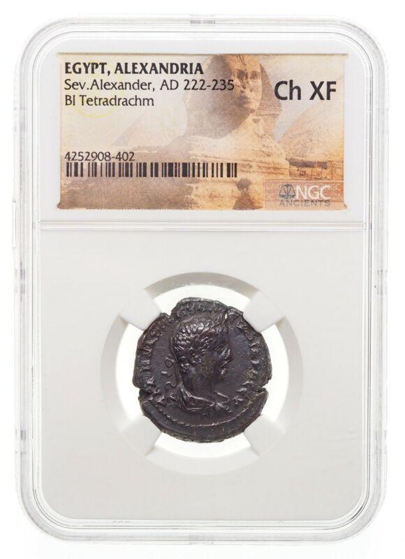 EGYPT, Alexandria. Severus Alexander. AD 222-235. Potin Tetradrachm, NGC Ch XF