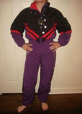 Vtg 80s 90s KAELIN Purple WOMENS SMALL One Piece SKI SUIT Snow Bib Snowsuit 4