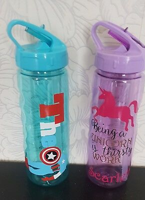 childs Personalised school Water Bottle / flip top bottle with straw