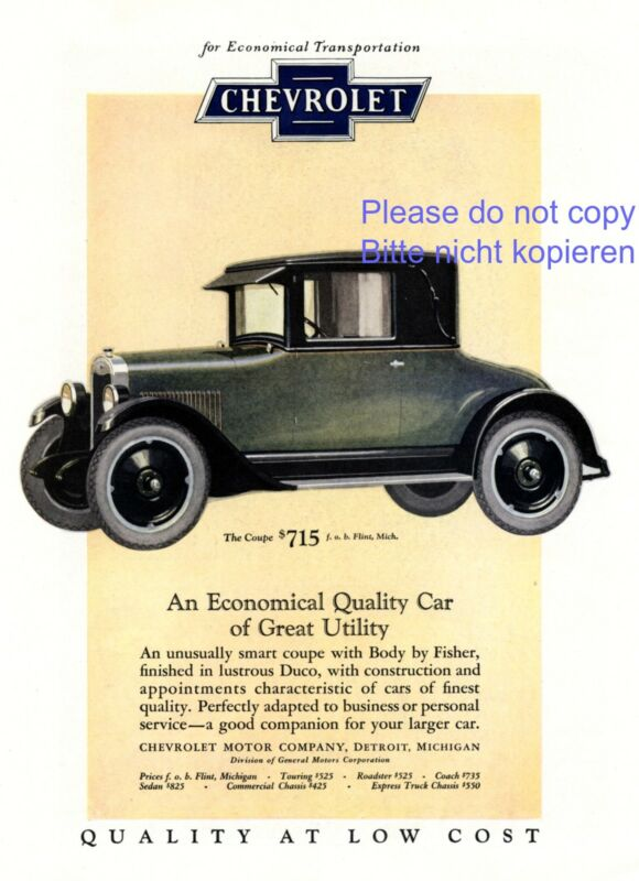 Chevrolet Coupe American ad 1925 advertising ad