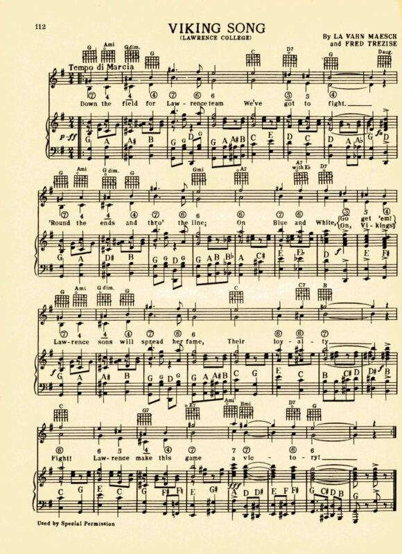 VTG.  LAWRENCE UNIVERSITY song sheet -