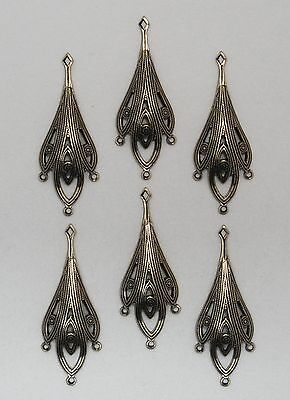 #3428 ANTIQUED GOLD 3 DROP EARRING/PENDANT BRASS COMP W/TOP HANG RING - 6 Pc Lot