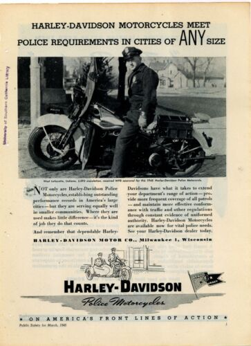1945 Harley Davidson Police Motorcycles Ad: West Lafayette, Indiana Officer Pic