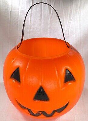 "1980 EMPIRE Vintage BLOW MOLD Jack-O-Lantern Pumpkin Candy Treat Bucket Pail 8"""