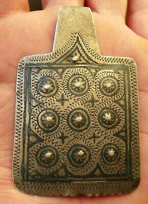 72mm Pendant Silver Niellé Antique Morocco Collier Berber Antique Silver Dangle