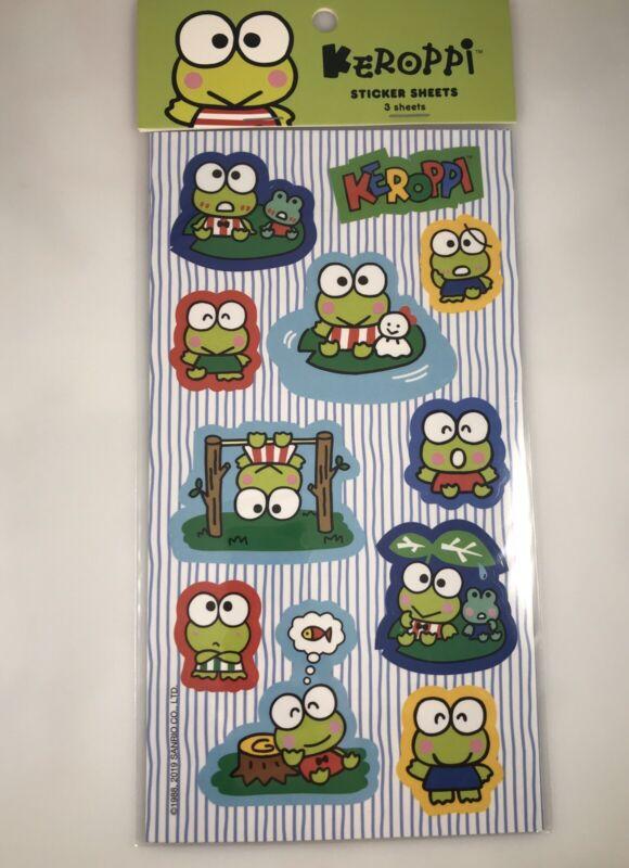 NEW Hello Kitty Sanrio Keroppi Frog Stickers 3 Sheets NIP