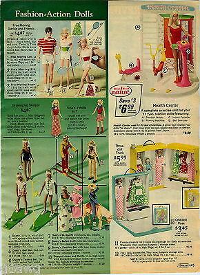 1976 PAPER AD Doll Barbie PJ Ken Skipper Dusty Exercise Bridal Gown Cyclette