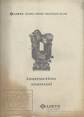 Lietz Double Center Theodolite Tm-20c Instruction Manual Proof Copy