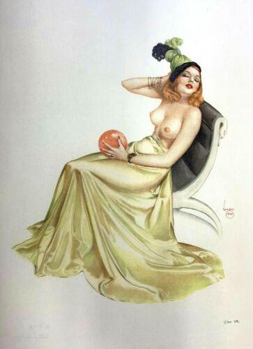 "Alberto Vargas ""green Dress Pink Balloon"" #1/20 Lithograph On Giclee Satin Print"
