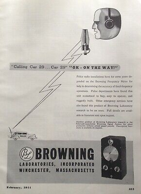 1944 AD(F15)~BROWNING LABS INC., WINCHESTER, MASS. FREQUENCY METER POLICE CARS