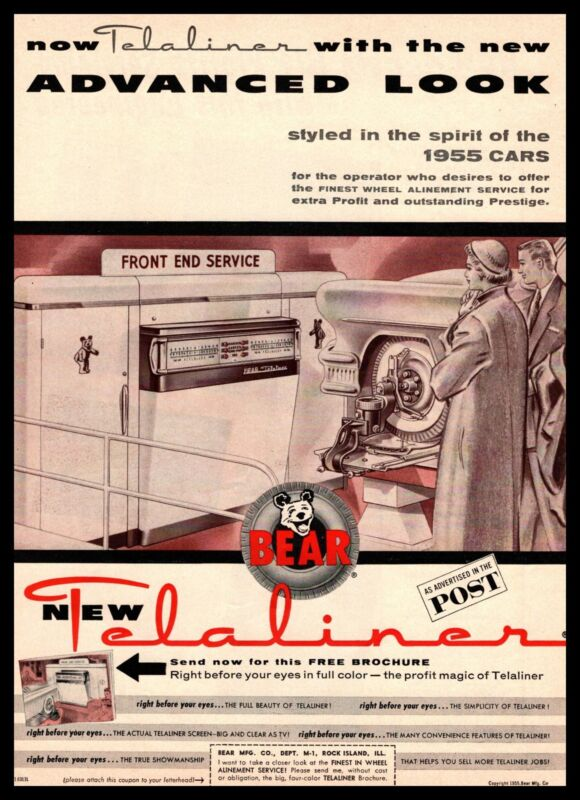 1955 Bear Rock Island Illinois Telaliner Front End Alignment Service Print Ad