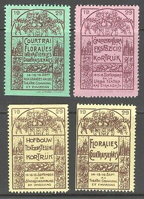 French poster stamp Flower Show Exhibition in different languages spanish 1929