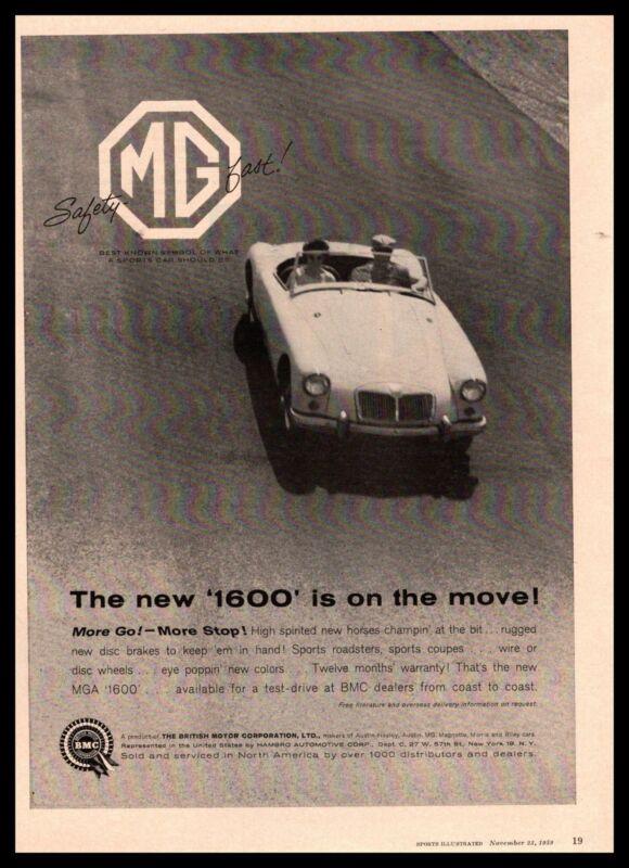 1960 MG MGA 1600 Roadster Convertible British Motor Corporation Vintage Print Ad