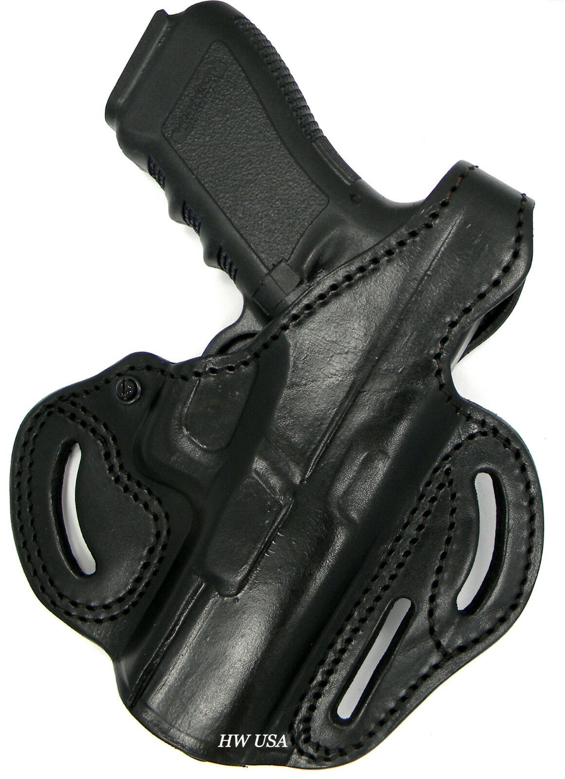 TAGUA PREMIUM RH OWB 2-Way Thumb Break Belt Holster BLACK Leather - Choose Gun