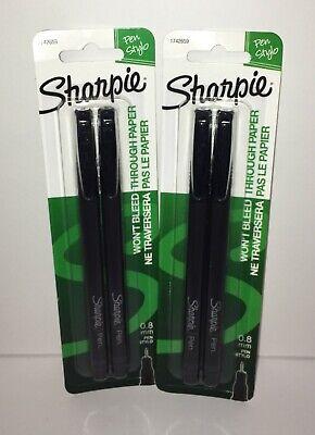 Lot Of 2 Sharpie Pen Stylo Black 2pk Fine Point 0.8mm No Bleed Smear Resistant