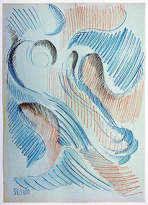 Aquarell Salz (Jakob Salzmann *1942 USA: Abstraktion Rot Blau In Bewegung Farbstift + Aquarell)