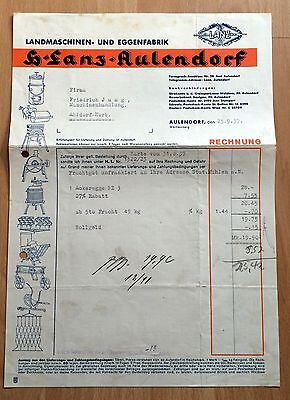 alte Rechnung 1937 Landmaschinen- und Eggenfabrik H. Lanz AULENDORF    ( 5229