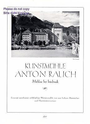 Kunstmühle Rauch Mühlau XL Reklame 1927 Innsbruck Mühle Mehl Werbung Dornach +