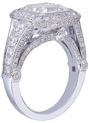 GIA I-VS2 18k White Gold Asscher Cut Diamond Bezel Engagement Ring Deco 3.30ctw 5