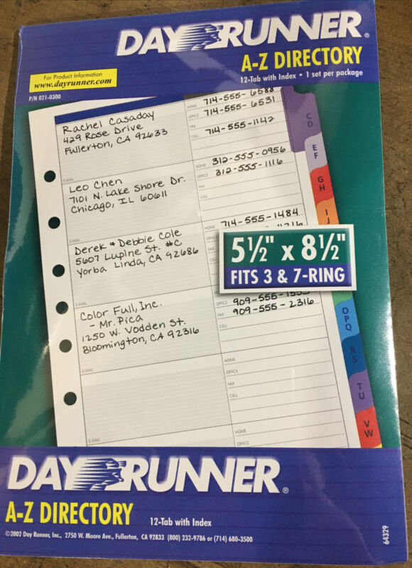 Day Runner A-Z Directory 5 1/2 x 8 1/2, fits 3 & 7 ring- 12 tab with index