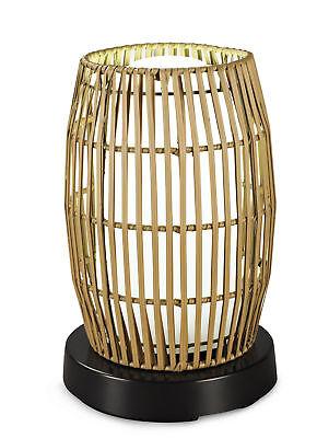 PatioGlo LED Table Lamp, Bright White, Resin Bamboo Shade Bamboo Resin Table Lamp