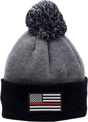 Red Line Flag Cuffed Pom Knit Hat 2-Tone  ()