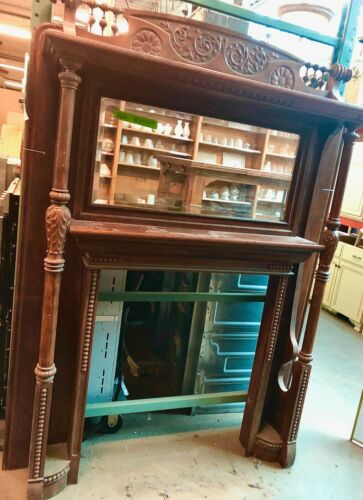 Antique Hand Carved Solid Wood Fireplace Surround with Mirror
