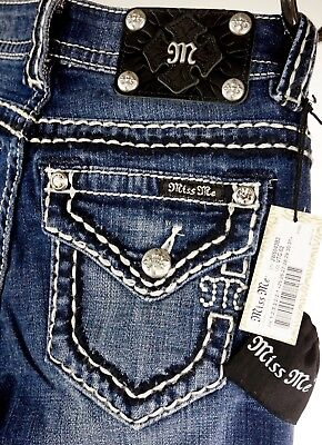 """$118 Buckle Miss Me Jean """"Ice Picked Stitch"""" Boot Size 25 Dead Stock - Sold Out"""