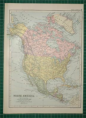 1905 ANTIQUE PRINT ~ NORTH AMERICA UNITED STATES MEXICO CUBA JAMAICA CANADA