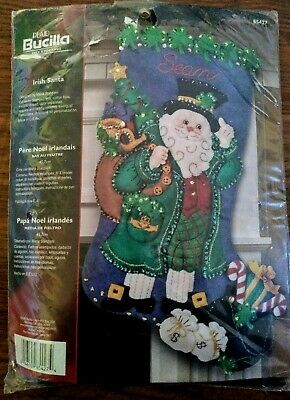 Bucilla IRISH SANTA Felt Applique Christmas Stocking Kit #85427 NEW