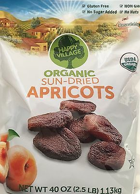 Happy Village Organic Unsulphured Sun-Dried Apricots, 2.5lbs (40oz) Gluten Free