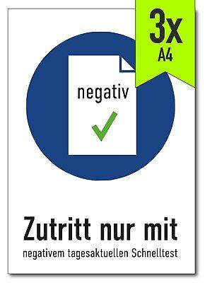 """Aufkleber Corona """"Zutritt nur mit negativem Schnelltest"""", DIN A4 (3 Stück)"""