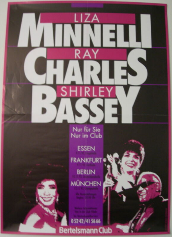 LIZA MINNELLI RAY CHARLES SHIRLEY BASSEY CONCERT TOUR POSTER 1993 RARE POSTER