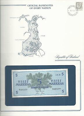 Banknotes of Every Nation Finland 5 Markkaa 1963 UNC P106Aa.21 Litt. B