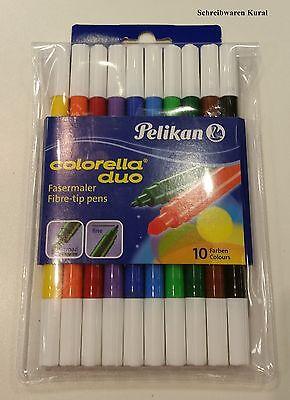 Pelikan Colorella Duo Fasermaler10 Farben  Dick + Dünn  Filzstifte Malstifte Neu