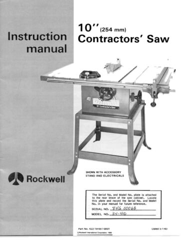 """Rockwell Delta Rockwell 10"""" (254 mm) Contractor"""