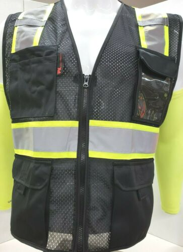 FX Two Tone High Visibility Reflective BLACK Safety Vest w/ ID pocket(Small-2XL)
