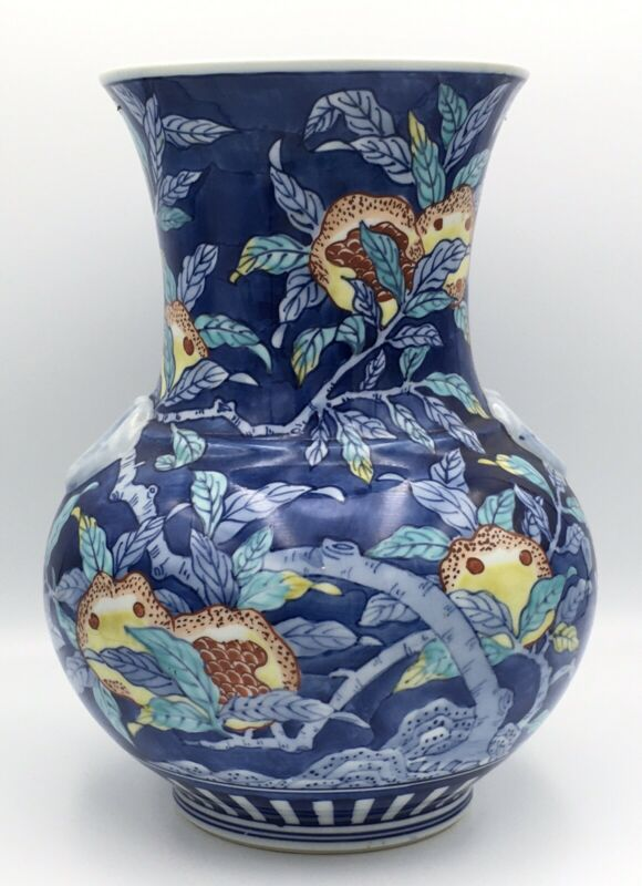 Large Japanese Taisho Studio Porcelain Vase W/ Pomegranate, Signed