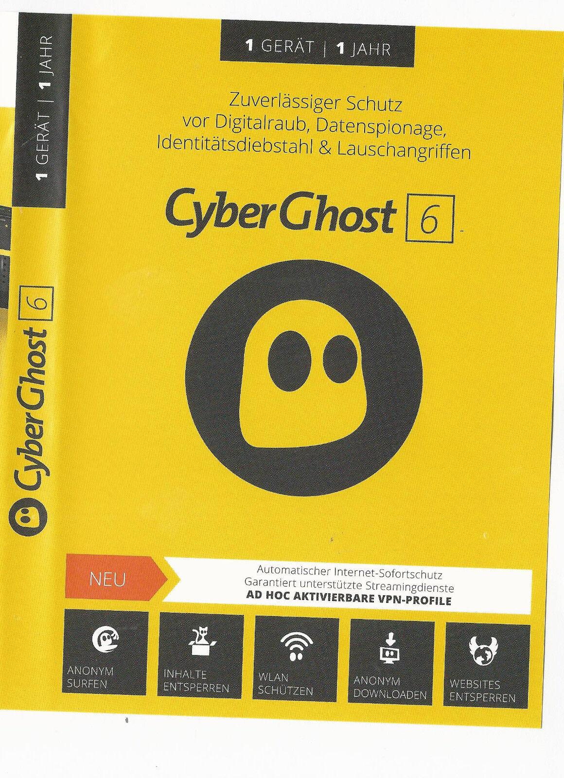 CyberGhost 6*VPN*Premium*neueste Version*1 Jahr *Key*Download*Anonym surfen*1 PC