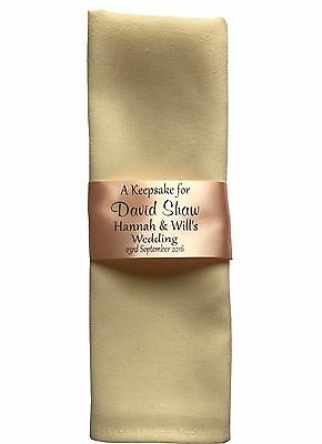 5 Personalised Ribbon Ring / Place Setting Napkins for Wedding Guests 45mm width - Personalized Ribbon For Wedding