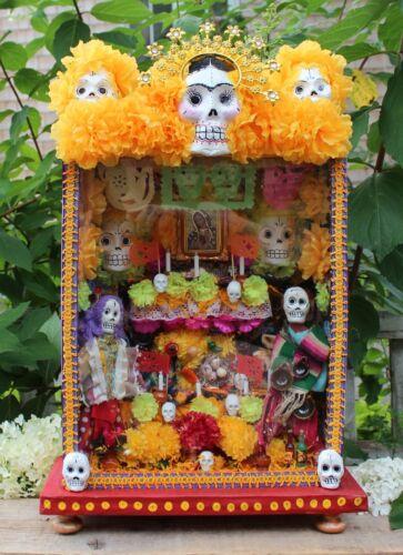 XL Size Day of the Dead Altar Wood Retablo Shadow Box Handmade Mexican Folk Art