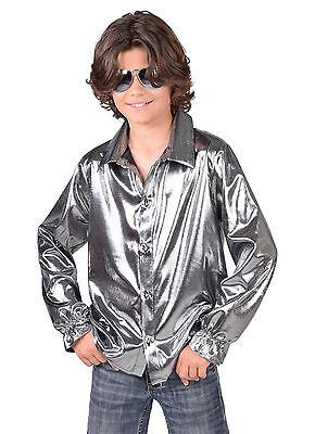 Kids Shirt - Metallic Liquid SILVER - 70's Disco / Show / Dance / (Disco Dance Show Kostüm)