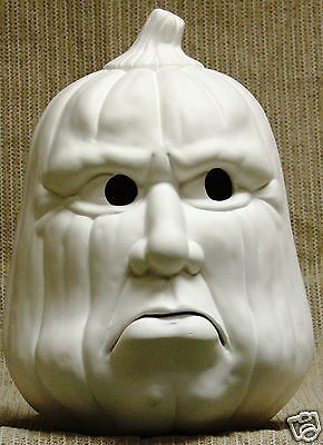 Ceramic Bisque Pouting Pumpkin Lighted Scioto Mold 1489 U-Paint Ready To Paint