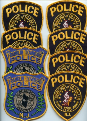 FRANKLIN TWP NEW JERSEY Patch Lot Trade Stock 8 Police Patches POLICE PATCH