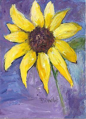 Sunflower 5x7 Original Painterly Floral Acrylic Art Painting Penny Lee StewArt