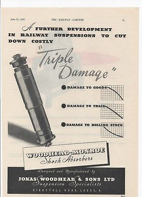 1949 Ad for WOODHEAD-MONROE SHOCK ABSORBERS + Dockers Bros Paints etc. on back